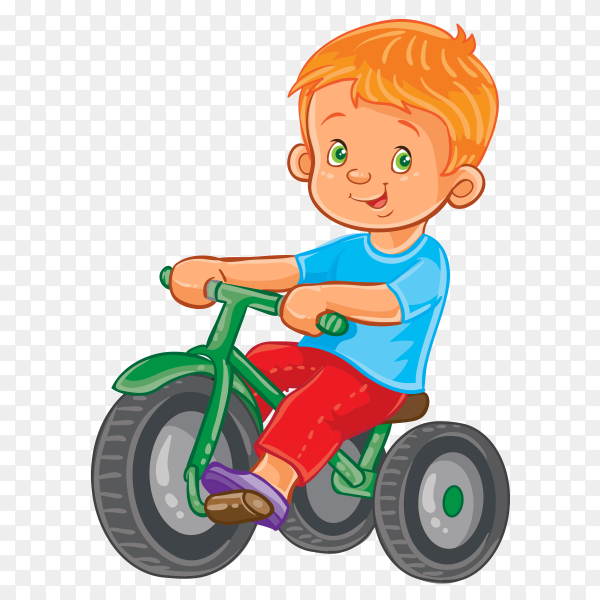A boy Riding A bike on transparent background PNG