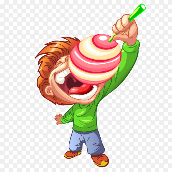 A boy eating sweet candy on transparent background PNG