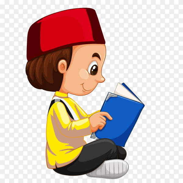 A boy reading book on transparent background PNG