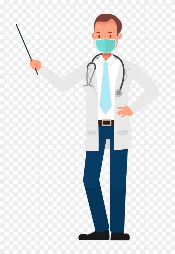 A doctor wearing medical mask on transparent background PNG