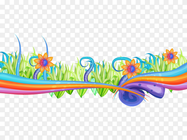 Abstract Colorful flowers on transparent background PNG