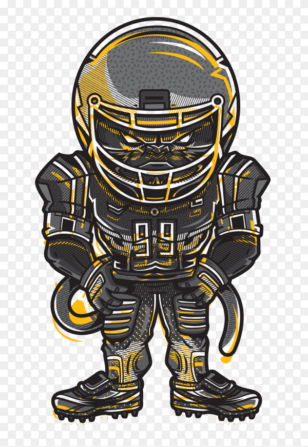 American football design on transparent background PNG