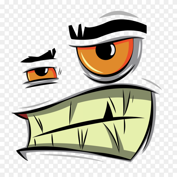 Angry cartoon face Premium vector PNG