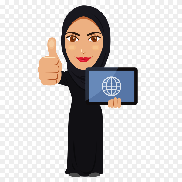 Arabic woman in hijab with Labtob on transparent background PNG