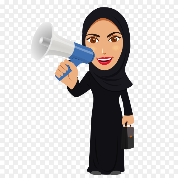 Arabic woman in hijab with Microphone on transparent background PNG