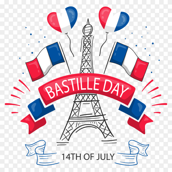 Bastille day with france flags and evil tour on transparent PNG