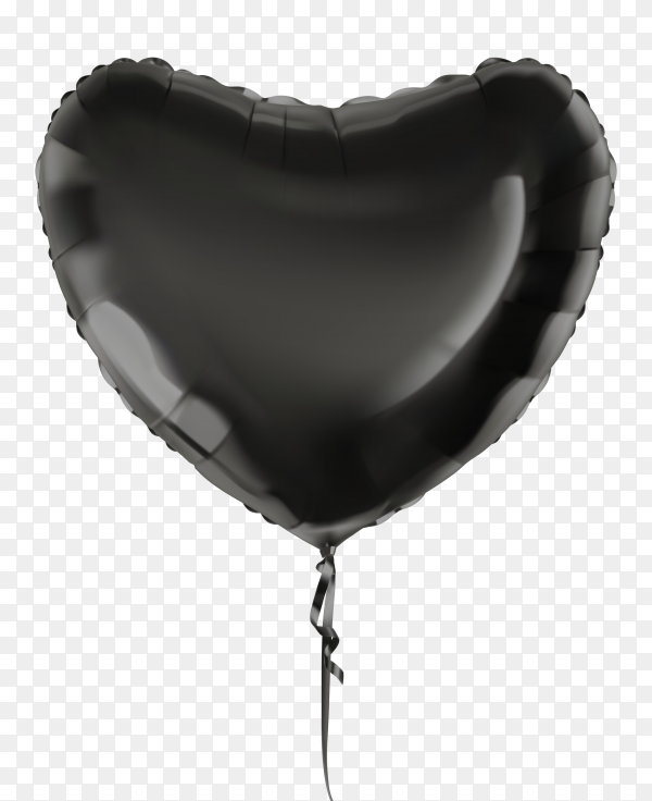 Black heart balloon  on transparent background PNG