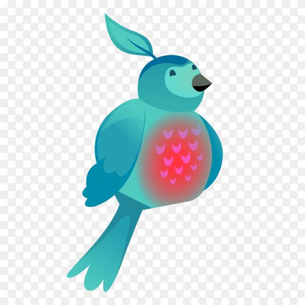 Blue bird cartoon on transparent background PNG