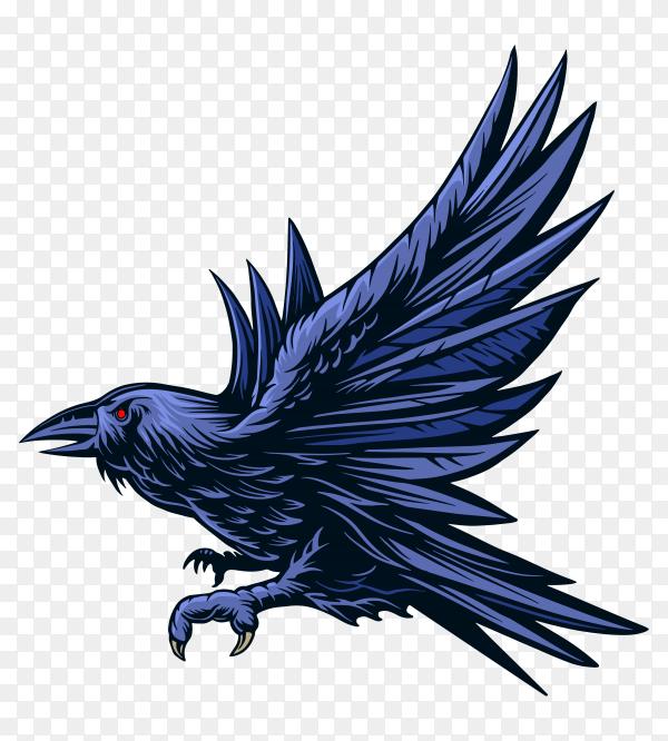 Blue raven on transparent background PNG