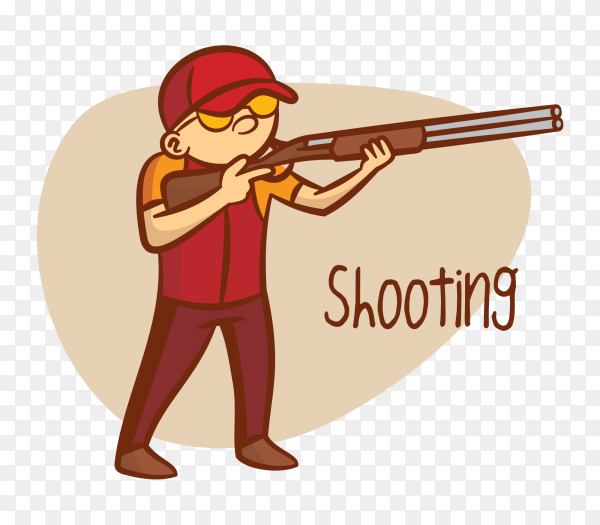 Boy shooting gun on transparent background PNG