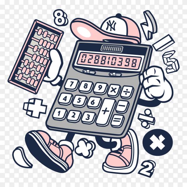 Cartoon Calculator on transparent background PNG