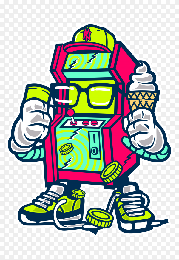 Cartoon Machine Game on transparent background PNG ...