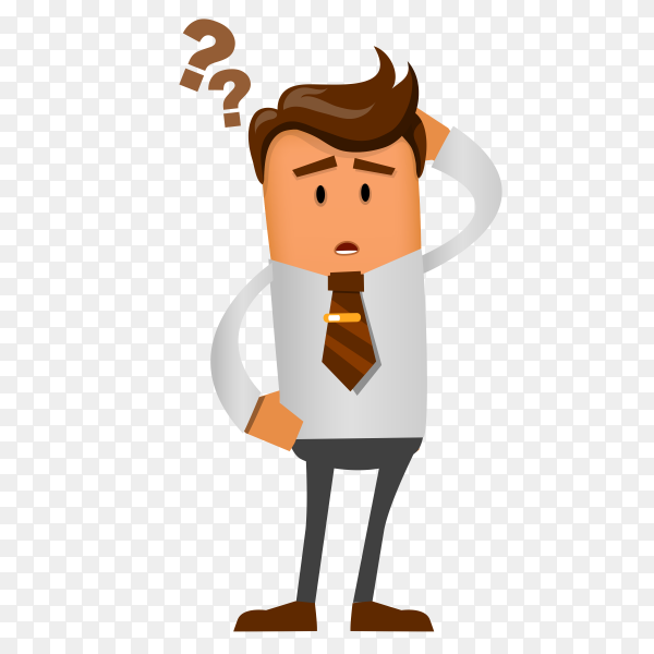 Cartoon Thinking man on transparent background PNG