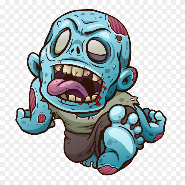 Cartoon Zombie on transparent background PNG