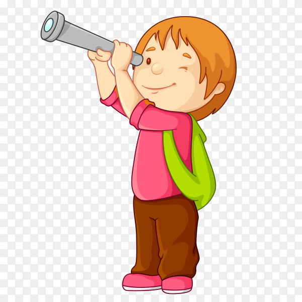 Cartoon boy holding Telescope on transparent bckground PNG