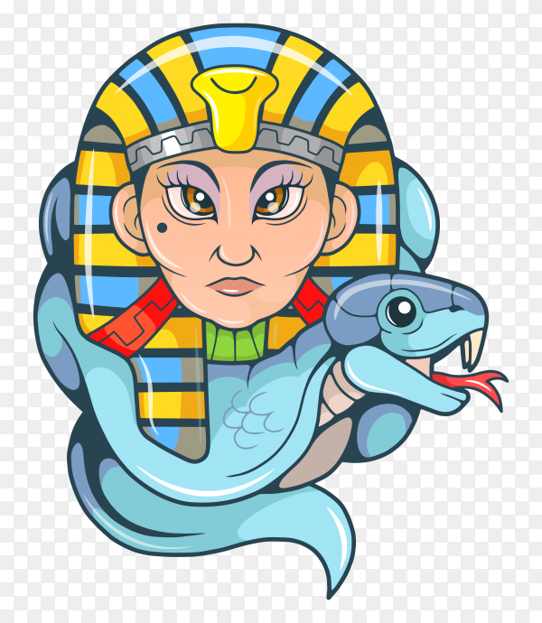 Cartoon cleopatra character on transparent background PNG