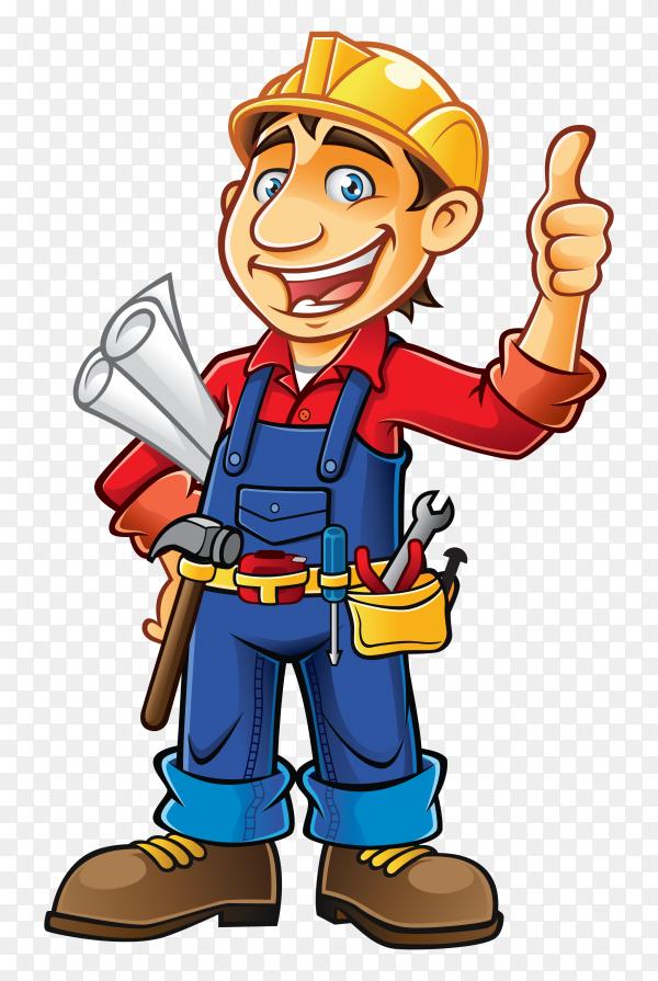 Cartoon construction worker Premium vector PNG