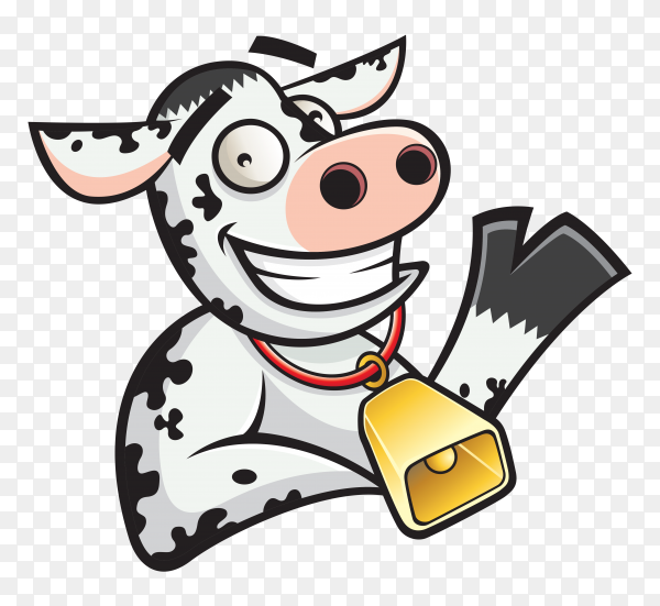 Cartoon cow character on transparent background PNG