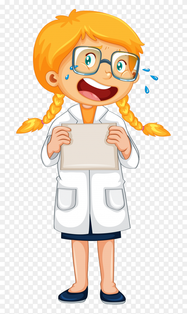 Cartoon doctor crying Premium vector PNG