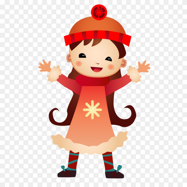 Cartoon funny gril on transparent background PNG