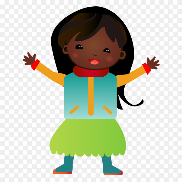 Cartoon girl style vector PNG