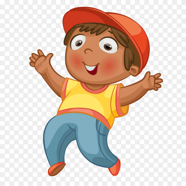 Cartoon happy boy Playing on transparent background PNG