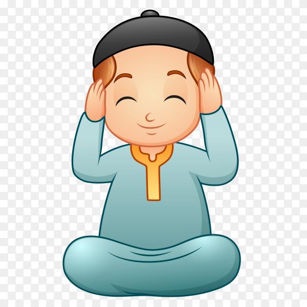Cartoon muslim man praying to god Clipart PNG