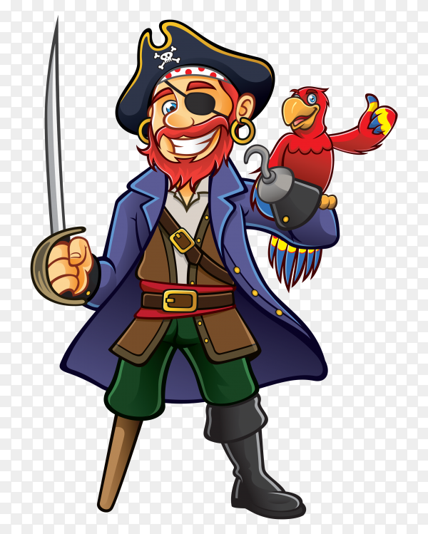 Cartoon pirate captain on transparent background PNG