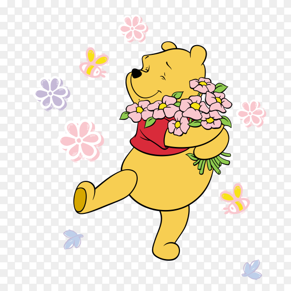 Cartoon pooh with flowers on transparent background PNG