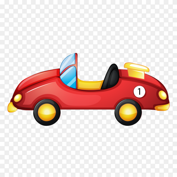 Cartoon red car on transparent background PNG