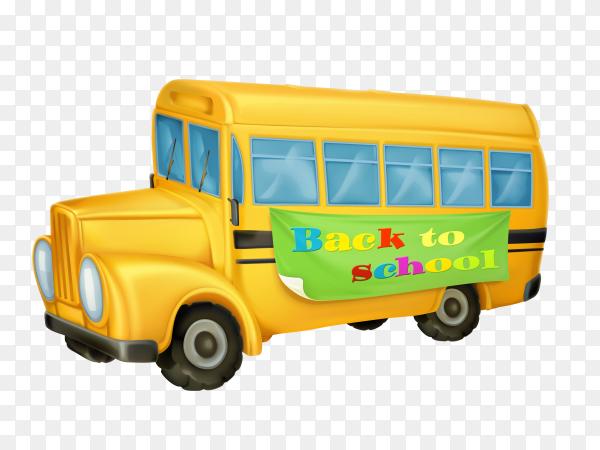Cartoon school bus on transparent background PNG