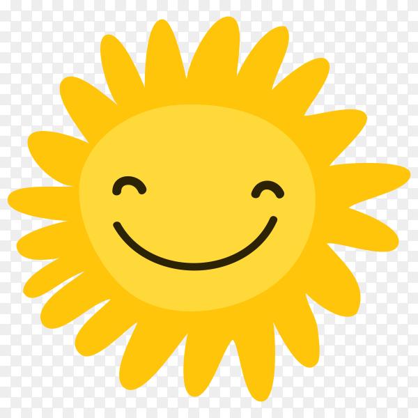Cartoon smiling sun on transparent background PNG