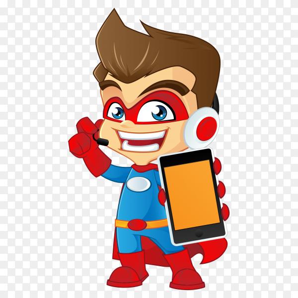 Cartoon superman holding smartphone on transparent PNG