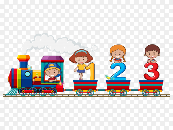 Children and numbers on the train on transparent background PNG