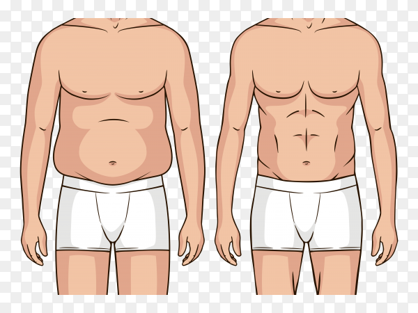 Color pop art style illustration man before after weight loss Clipart PNG