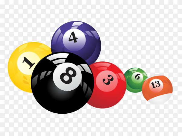 Colorful billards balls on transparent background PNG