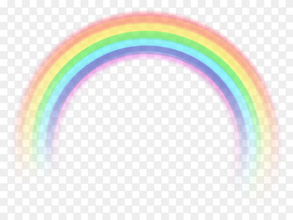 Colorful decorative rainbow realistic style on transparent background PNG