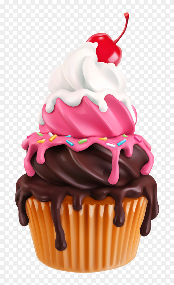 Cupcake with cherry Premium vector PNG