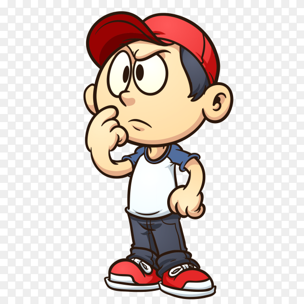 Cute boy is thinking on transparent background PNG