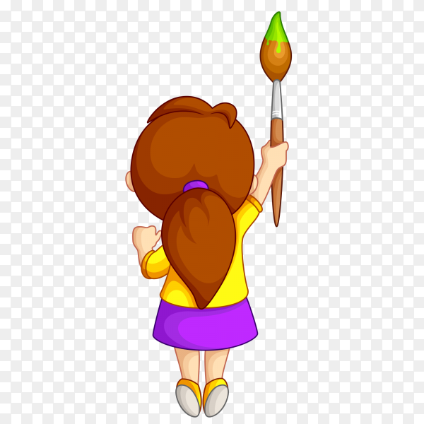 Cute cartoon girl holding brush paint on transparent background PNG