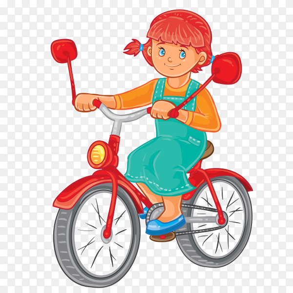 Cute girl Riding a bike on transparent background PNG