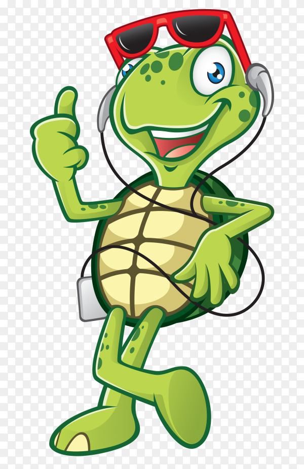 Cute tortoise cartoon on transparent background PNG