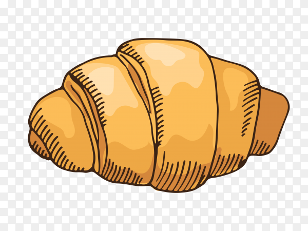 Delicious croissant on transparent background PNG