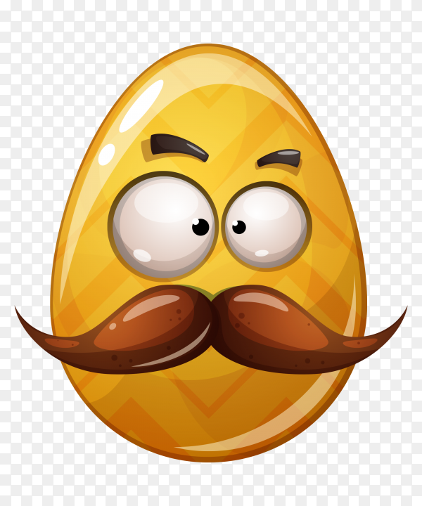 Egg with disguised face on transparent background PNG