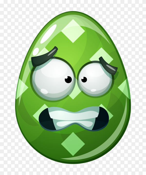 Egg with fearful face on transparent background PNG