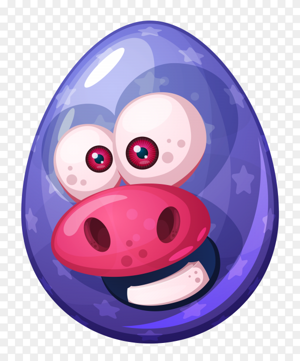 Egg with surprise face on transparent background PNG