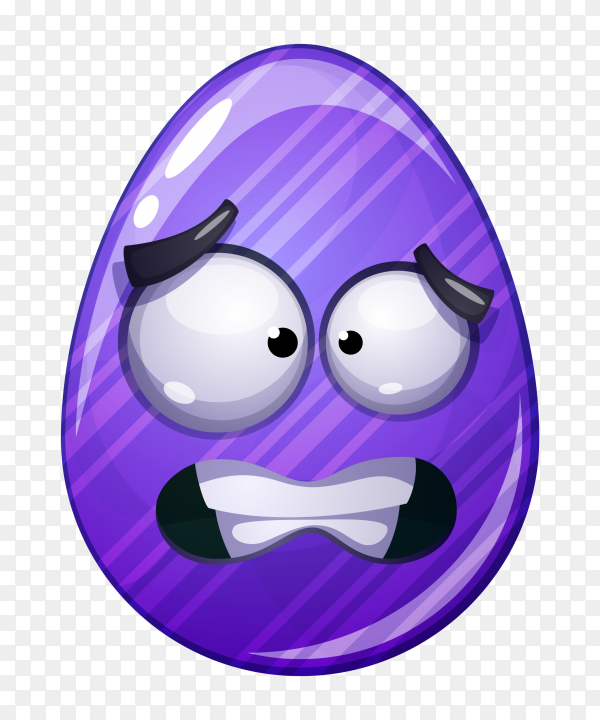 Egg with worried face on transparent background PNG