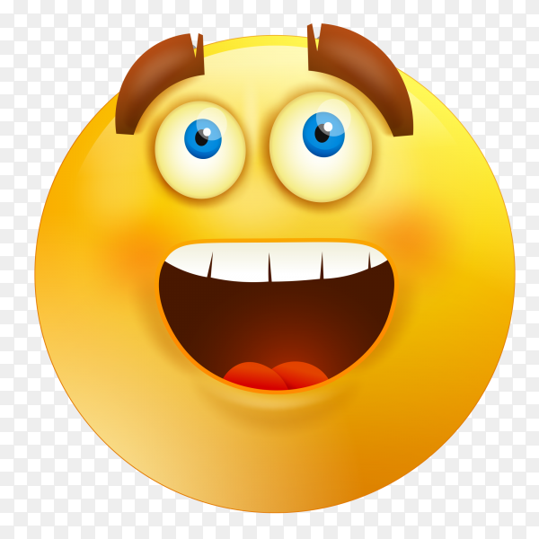 Emoji face with open mouth on transparent background PNG