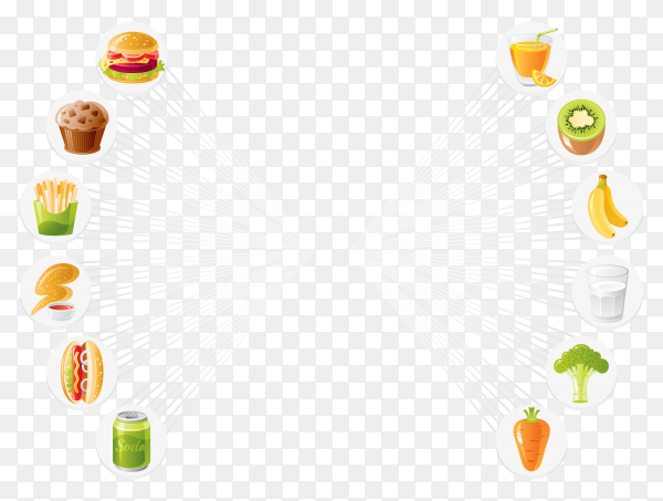 Fast food and healthy food design Premium vector PNG