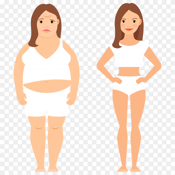 Fat and slim woman figures  on transparent background PNG